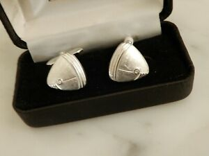 A LARGE PAIR  OF DECORATIVE WHITE STONE SET CUFFLINKS CASED