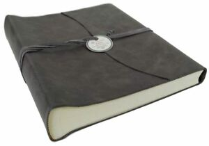 Capri Leather Photo Album, Large Charcoal - Handmade in Italy