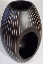 Hand Carved Wooden Vase Mango Wood Beautiful Handmade Design H:26cm