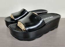 Prada Platform Slide Sandal, Black Leather, Womens Size 9 / 39