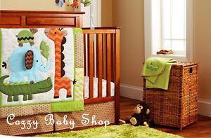 Baby Bedding Crib Set Cot 7pc Nursery Owl Sheet Nappy Stacker Giraffe Elephant