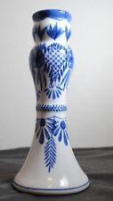 Cobalt Blue and White Porcelain Candlestick Candle Holder