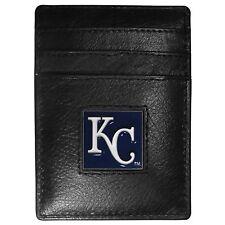 KC ROYALS KANSAS CITY MLB FINE GRAIN LEATHER CARDHOLDER MONEY CLIP WALLET, BOXED