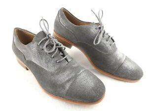 Clarks Women Metallic Grey Lace Up Dress Casual Oxford Shoes Cap Toe US 7.5