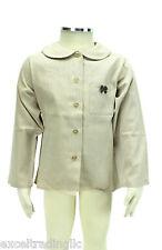 JACADI Girl's Argile Beige Button Down Peter Pan Shirt Size 4 Years NWT $45
