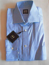 $135NWT IKE BEHAR 15.5 R eu39 Blue Gingham check Spread twill cotton dress shirt