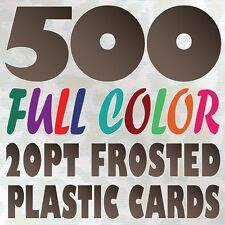 500 Full Color Custom 20pt FROSTED PLASTIC BUSINESS CARD Printing Round Corners