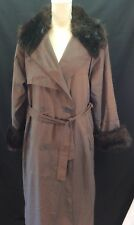 London Fog Coat Rain Trench Fur Collar Cuffs 10 Insulated Brown Blue Iridescent