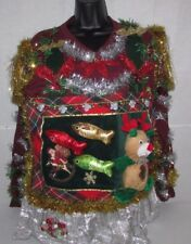 Mens Ugly TACKY Christmas Sweater Large L Office Party Winner TIE Skirt WOMENS