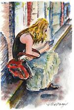 """A585-Signed Print of ORIGINAL WATERCOLOR PAINTING /""""You/'ve got mail!/"""",Gift idea"""