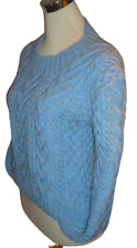 "HAND KNITTED Heavy knit Blue Marl Aran long sleeve Crew Neck jumper M/L 40"" bust"