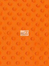 "DIMPLE DOT MINKY FABRIC - Neon Orange - 60"" SEW-SOFT BABY FABRIC RAISED CHENILLE"