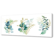 BEAUTIFUL GREEN GOLD TROPICAL LEAVES BRUNCHES CANVAS PRINT WALL ART PICTURE