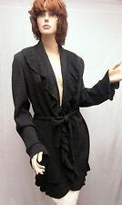 St John Knit COLLECTION NWOT Dark Grey Kelly  Coat Jacket Ruffle SZ 8 10