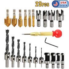 23x Woodworking Chamfer Drilling Countersink Drill Bits Wood Plug Cut Tool Set