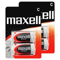 4 x Maxell C size batteries Zinc R14 MN1400 UM2 Baby Low/Constant Drain 0% Hg