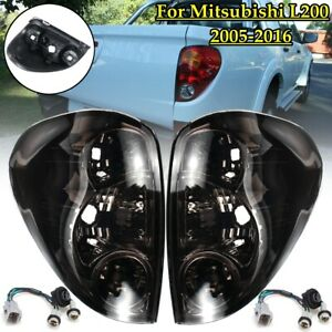 Pair Smoked Rear Tail Light Lamps For Mitsubishi Triton Colt Ute ML MN 2005-2016