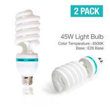 2 x 120V Fluorescent Daylight Photo Bulbs 45W 6500K New , Usa Seller