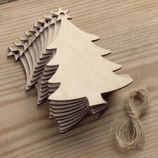 10Pcs/Set Christmas Wood Chip Tree Merry Xmas Ornaments Hanging Pendant Decor