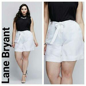 Lane Bryant Women's White Linen Blend Tie Belt Shorts Size 26/28