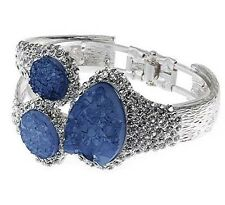Catwalk 2018 Worn Silver & Blue Statement Druzy Look Bangle w/ Swarovski Crystal