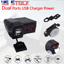 Red LED Voltmeter USB Charger For Honda Gold Wing Valkyrie Rune GL 1500 1800 US