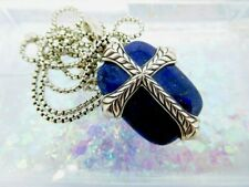 David Yurman Blue Lapis Lazuli Chevron Cross Necklace in Sterling Silver