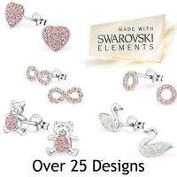 Ladies Girls Swarovski® Crystal Elements 925 Sterling Silver Stud Earrings Pair