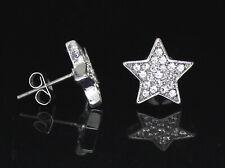 Men Women Star Earrings Stud Gold Silver Plated Hip Hop Fashion Stainless Steel