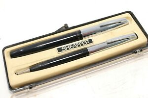 Vintage Sheaffer's USA Fountain Pen & mechanical Pencil Set Black Chrome In Box