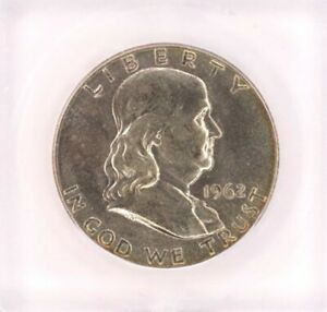 1962 FRANKLIN SILVER 50 CENTS ICG MS 65