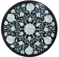 "30"" Marble Dining Coffee Table Top Mother of Pearl Mosaic Floral Inlay Work H335"
