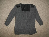 NEW! Maurices Woman Medium Black Gray Open Front Knit Shirt Faux Leather Back