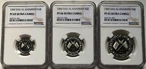 NGC-PF65-66UC RAS AL-KHAIMAH 1969 UAE 1/2/5 Rials Silver Coin