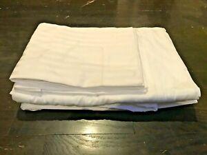 New BELLINO Luxury Egyptian Cotton White Shadow Stripe Queen Sheet Set Italy