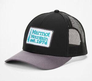 NEW MARMOT MENS RETRO TRUCKER HAT 16410 BLACK DARK STEEL FREE SHIPPING