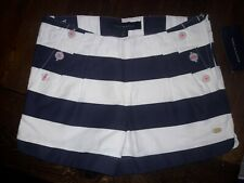NEW Tommy Hilfiger Girls White Blue Striped Shorts Size 8 Nautical Sailor Button