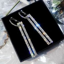 9K REAL WHITE GOLD FILLED RECTANGLE  HOOP EARRINGS MADE WITH SWAROVSKI CRYSTALS