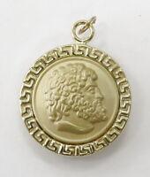 18k Yellow Gold Greek Mythology Charm Necklace Pendant~4.9g