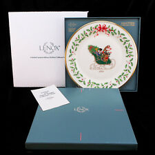 Lenox China 1st Annual Holiday Christmas Plate 1991 Sleigh with Gifts Mib & Coa