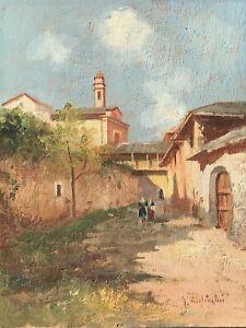 Dipinto Giovanni Pagliarini Paesaggio Con Figure