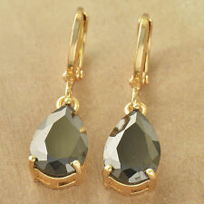 New 9K Yellow Gold Filled Black Onyx CZ Pear Shaped Tear Drop Dangle Earrings