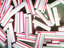 VTG 200 1950's RED GREEN WHITE STRIPE GLASS BUGLE BEADS 15mm! #091816s HOLIDAY