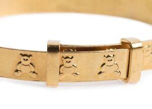 Rolled GOLD Base Metal Baby Christening Bangle Teddy Bear Expandable Bracelet