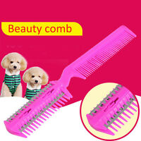 Pet Hair Trimmer Comb Cut Dog Cat With 4 Blades Grooming Razor~Thinning