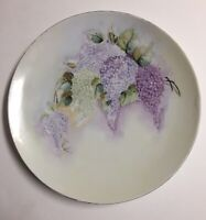 Heinrich & Co. Bavaria Handpainted Purple Wisteria Floral Luncheon Plate 9""