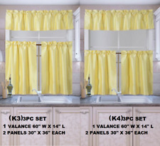 "3PC SET KITCHEN WINDOW CURTAIN VALANCE TIER SUN BLOCKING 54"" WIDE 24"" OR 36"" L"