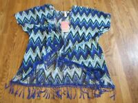 Miken sheer open front Tunic dress Cover Up zig-zag BLUE MULTI Sz S/M nwt