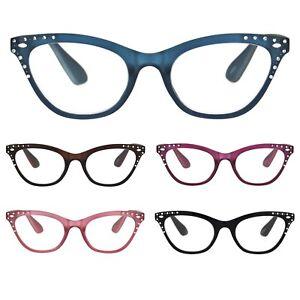 Womens Bling Rhinestone Plastic Cat Eye Horn Rim Powered Reading Glasses