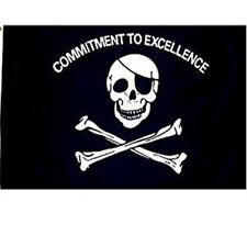 3X5 Jolly Roger Commitment To Excellence Premium Flag Pirate Eye Patch Skull